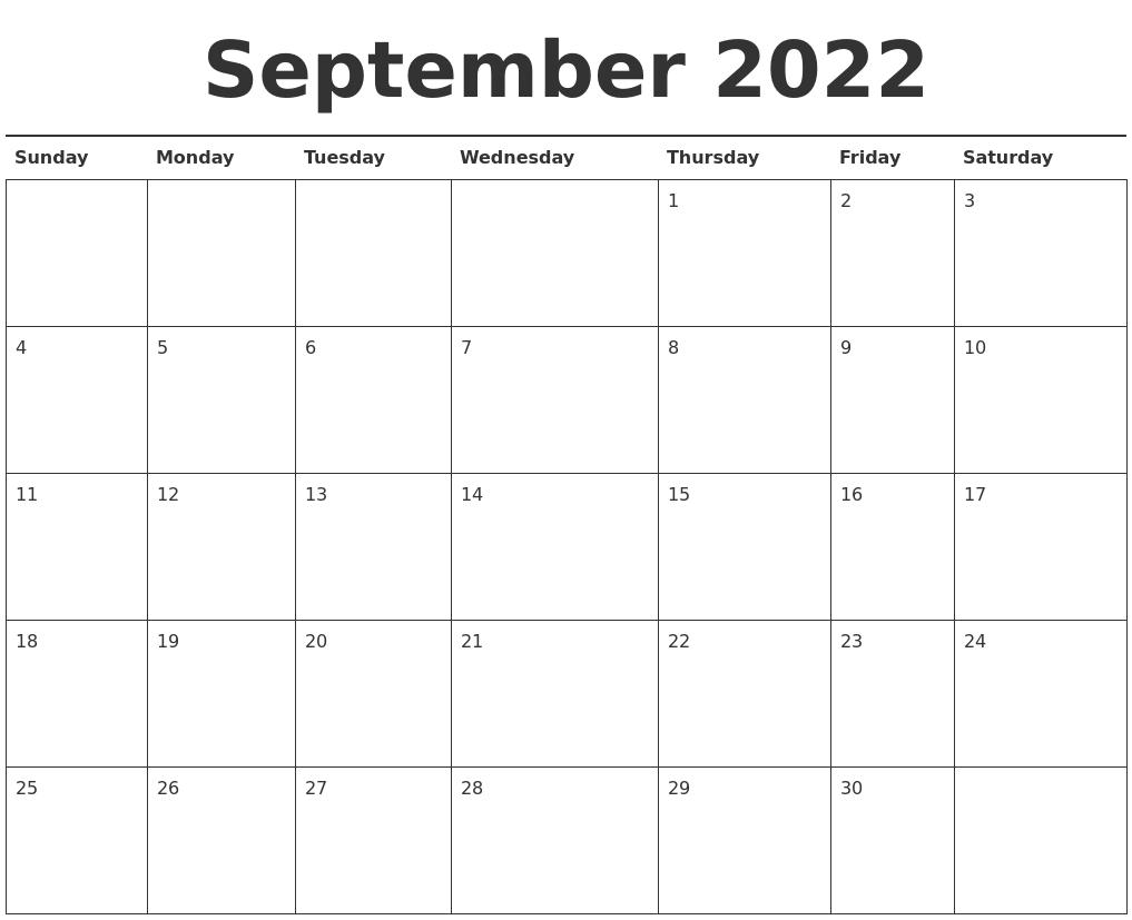 Print September 2022 Calendar.September 2022 Calendar Printable