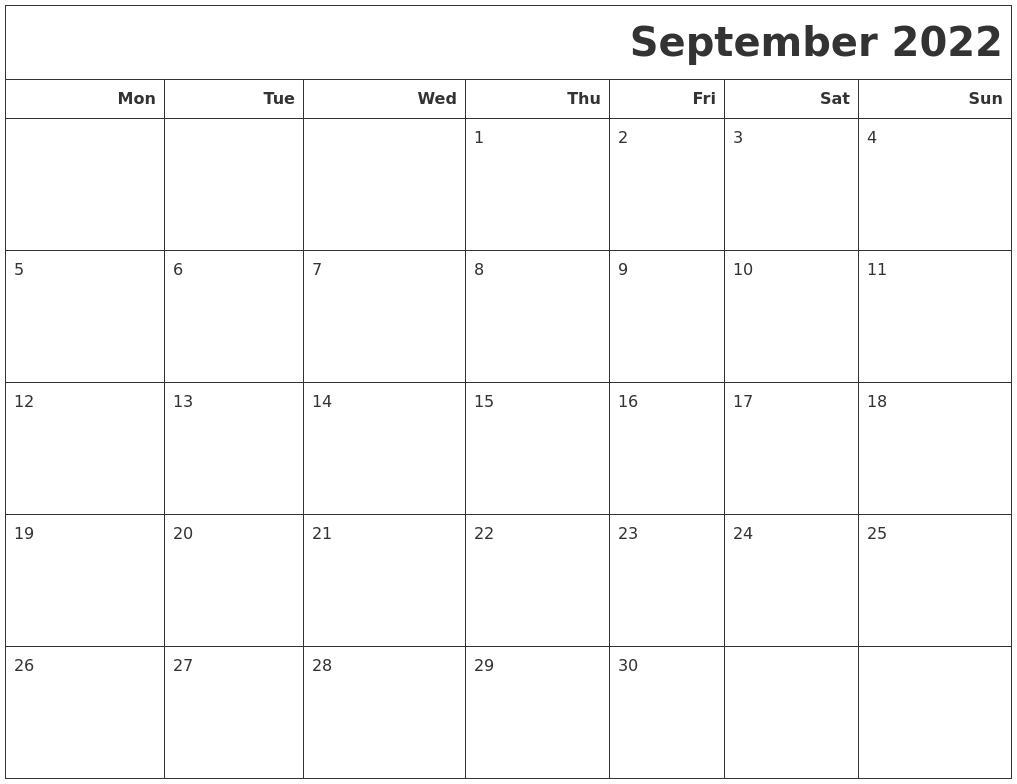 September 2022 Calendars To Print