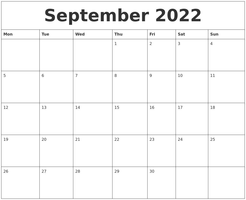 Calendar 2022 September.September 2022 Free Downloadable Calendar