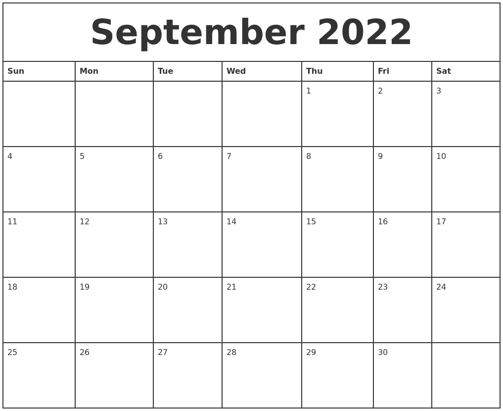 September 2022 Printable Monthly Calendar