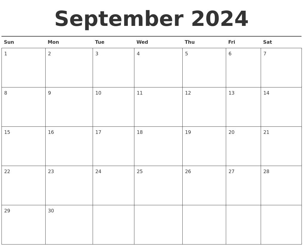 November 2024 Monthly Calendar Template