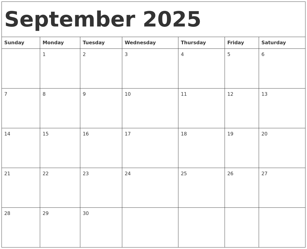 September 2025 Calendar Template