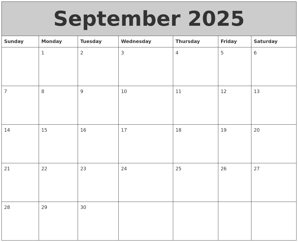 September 2025 My Calendar