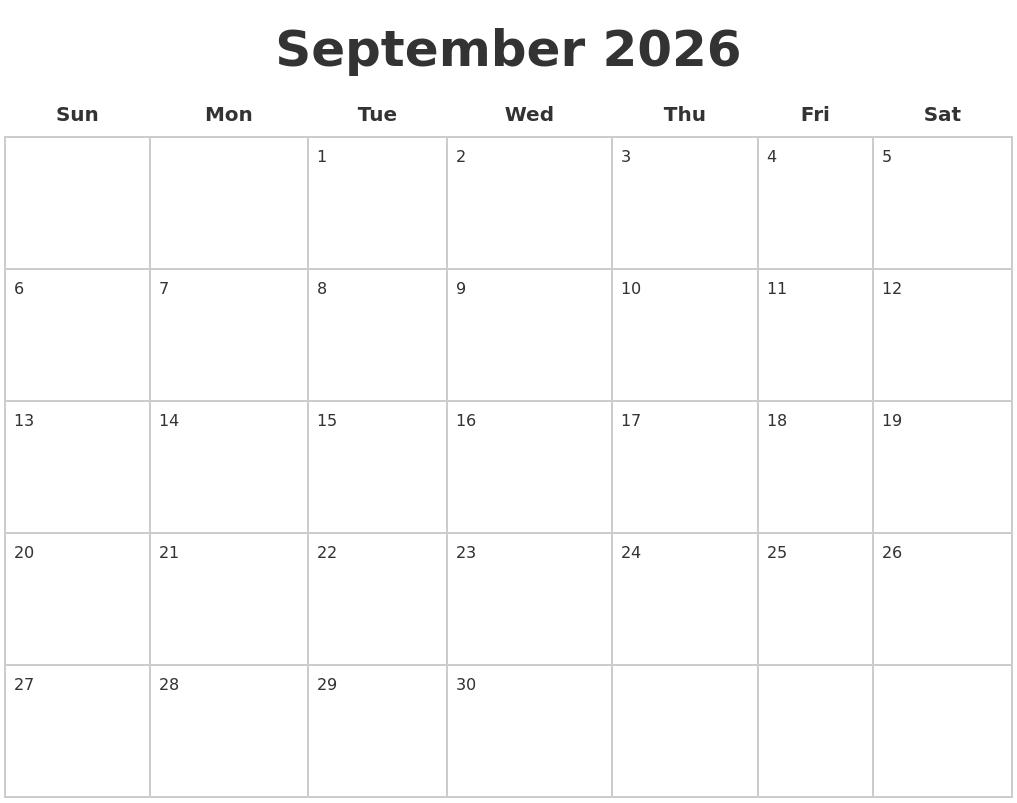 September 2026 Blank Calendar Pages