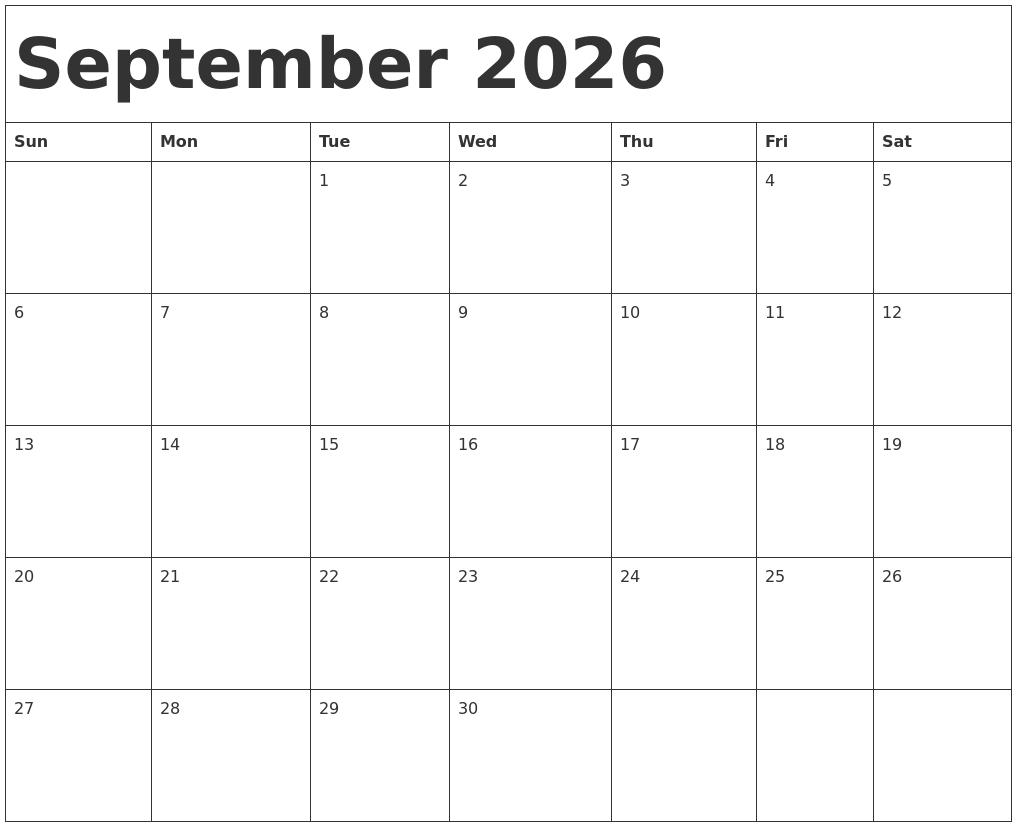 September 2026 Calendar Template