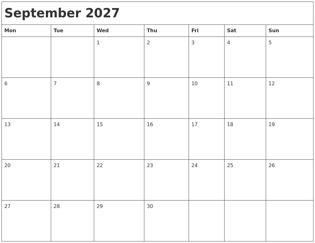 September 2027 Month Calendar