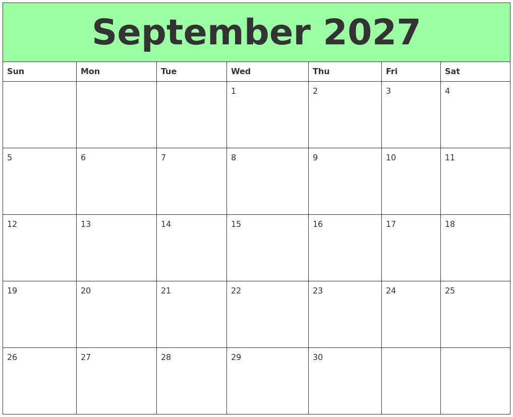 September 2027 Printable Calendars