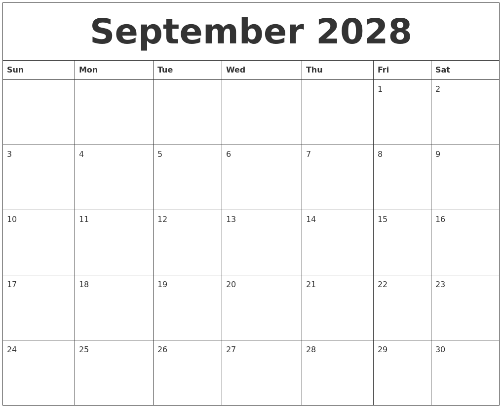 Calendar Template By Month