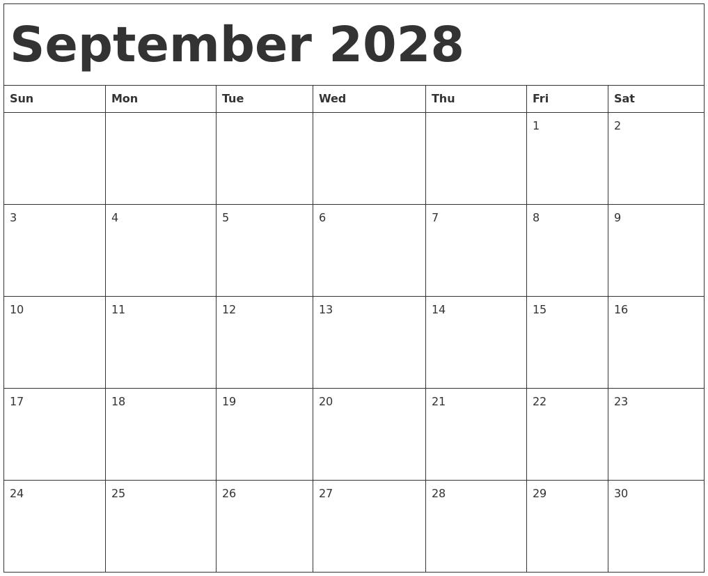 December 2028 Blank Calendar