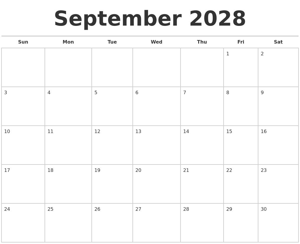 September 2028 Calendars Free