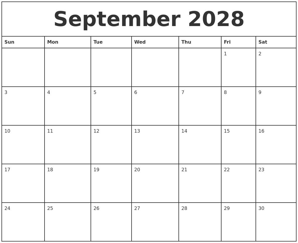 September 2028 Printable Monthly Calendar