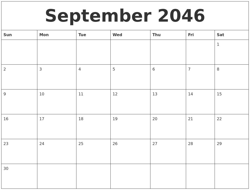 September 2046 Free Printable Calendar Templates
