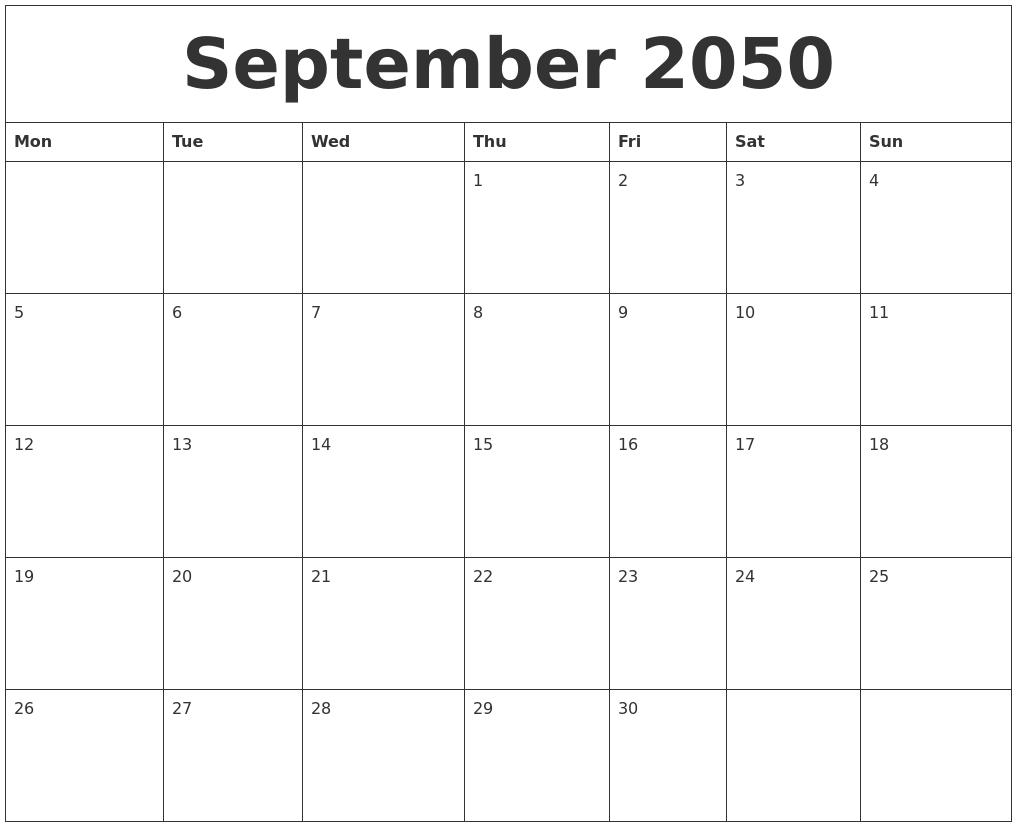 September 2050 month calendar template maxwellsz