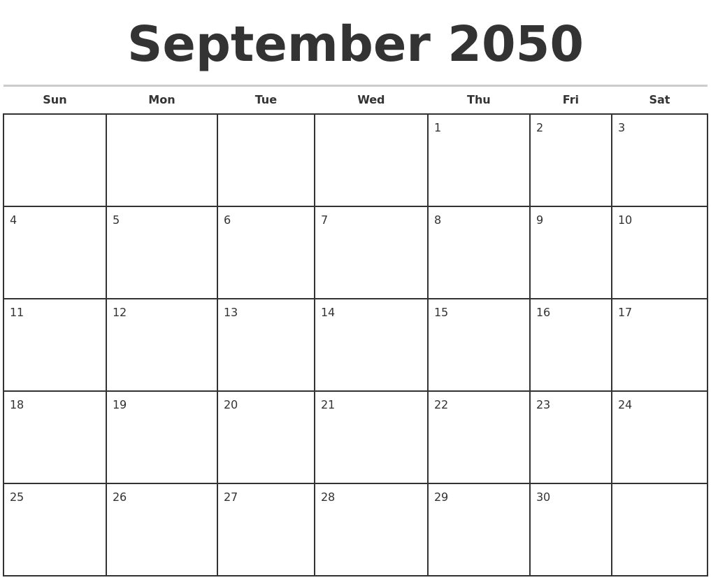 May 2050 free calendar template for Calendar templats