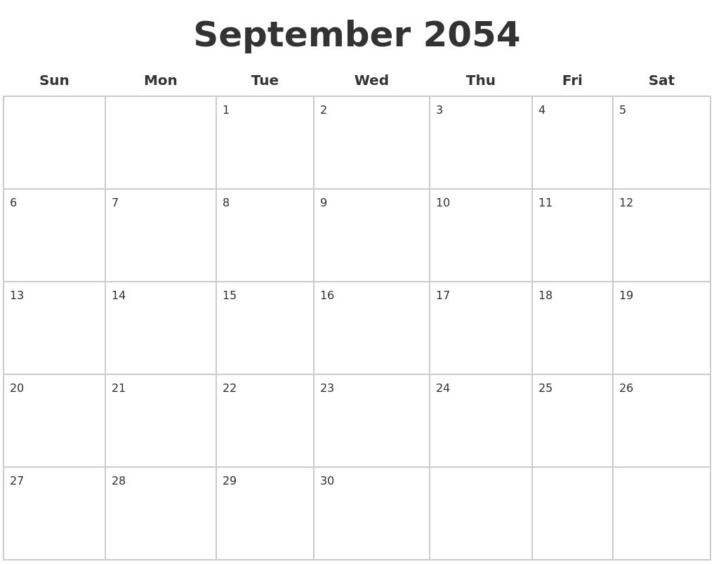 September 2054 Blank Calendar Pages
