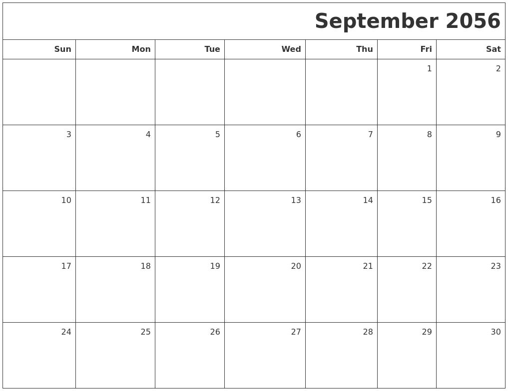 September 2056 Printable Blank Calendar